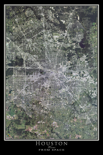 Houston Texas Satellite Poster Map
