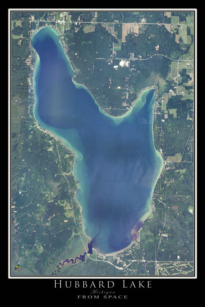 Hubbard Lake Michigan Satellite Poster Map Terraprints Com