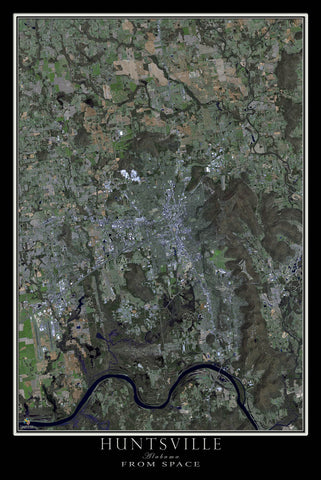 Huntsville Alabama From Space Satellite Poster Map - TerraPrints.com