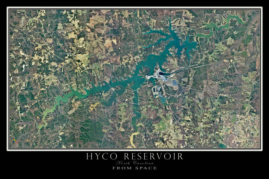 Hyco Reservoir North Carolina Satellite Poster Map - TerraPrints.com