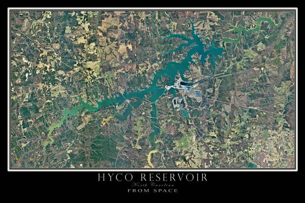 Hyco Reservoir North Carolina From Space Satellite Poster Map - TerraPrints.com