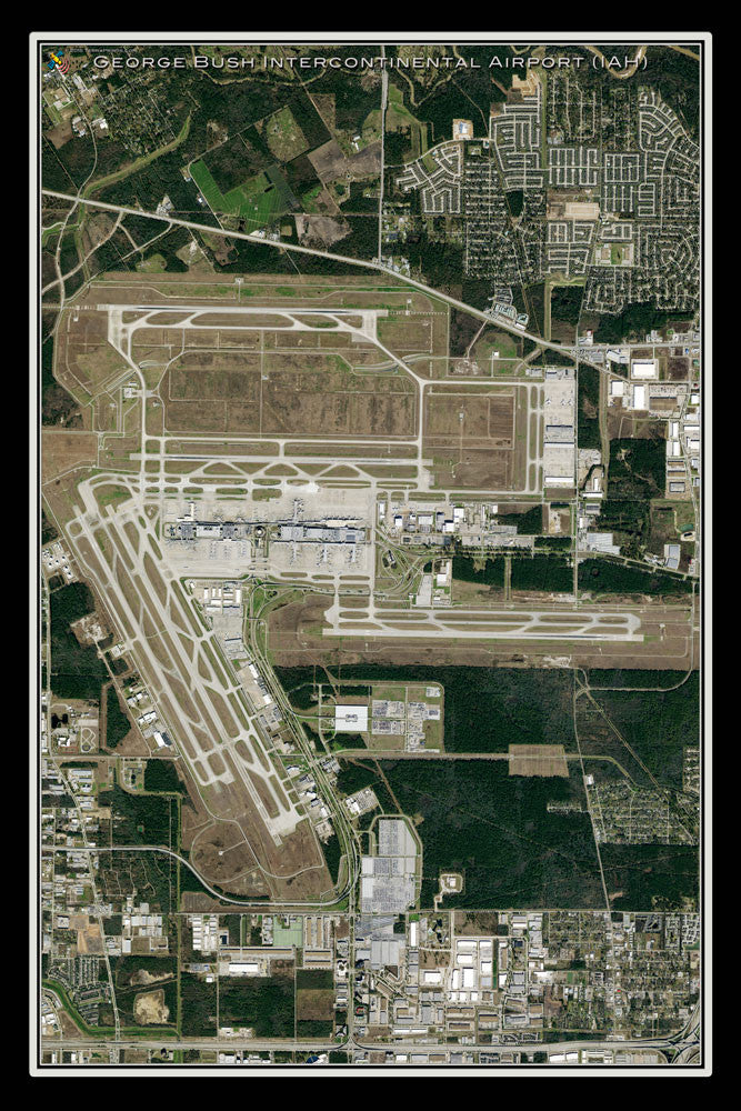 George Bush Intl Airport Houston Texas Satellite Poster Map