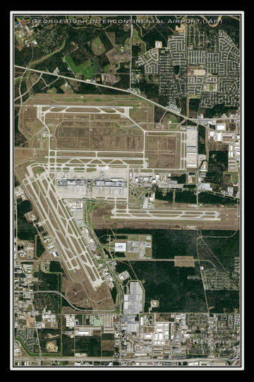 The George Bush Intl Airport Houston Texas Satellite Poster Map