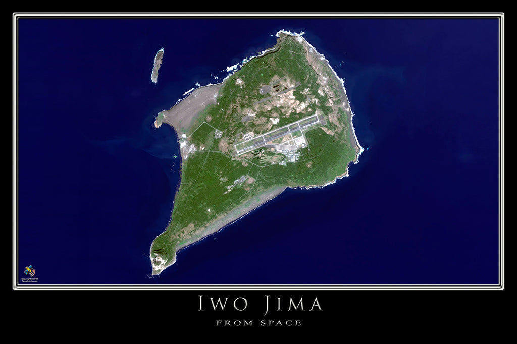Iwo Jima Japan Satellite Poster Map