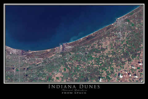 Indiana Dunes National Lakeshore From Space Satellite Poster Map - TerraPrints.com
