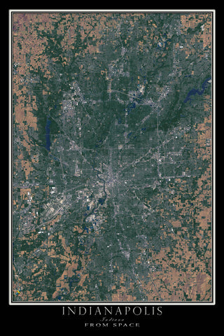 Indianapolis Indiana From Space Satellite Poster Map - TerraPrints.com