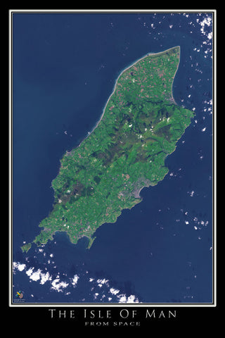 Isle Of Man From Space Satellite Poster Map by TerraPrints.com. Available in multiple sizes with free shipping in the USA.