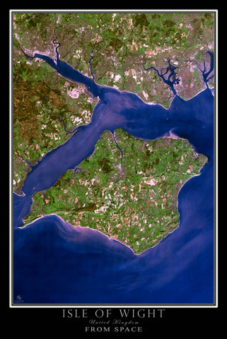 Isle Of Wight From Space Satellite Poster Map by TerraPrints.com. Available in multiple sizes with free shipping in the USA.