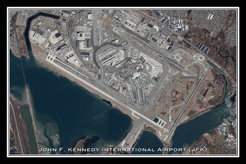 John F Kennedy Intl Airport New York Satellite Poster Map
