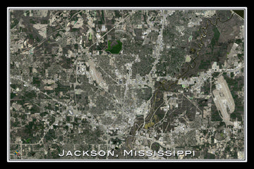 Jackson Mississippi Satellite Poster Map - TerraPrints.com