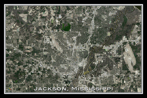 Jackson Mississippi From Space Satellite Poster Map - TerraPrints.com