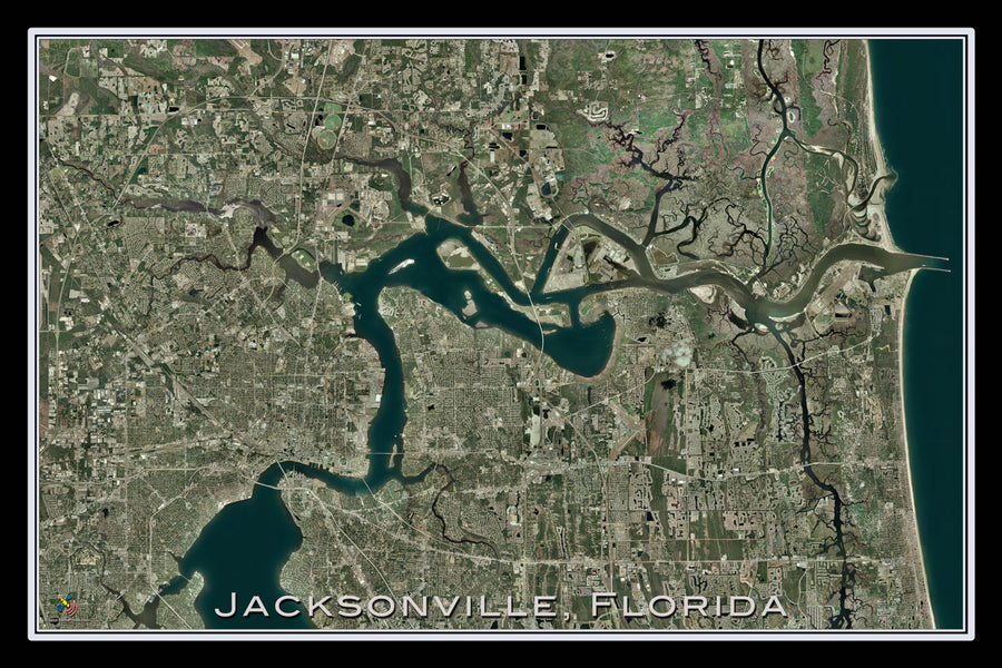 Jacksonville Florida Satellite Poster Map - TerraPrints.com