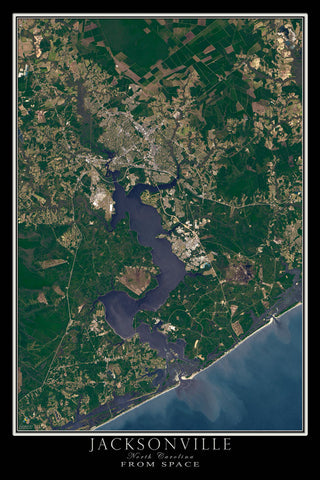 Jacksonville North Carolina From Space Satellite Poster Map - TerraPrints.com