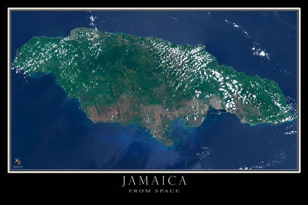 Jamaica From Space Satellite Poster Map by TerraPrints.com. Available in multiple sizes with free shipping in the USA.