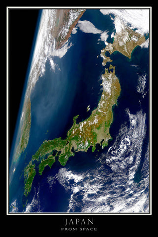 Japan From Space Satellite Poster Map - TerraPrints.com
