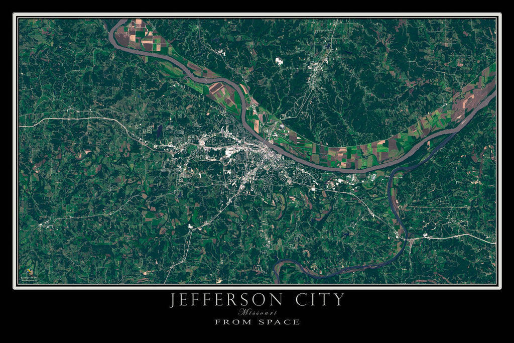 Jefferson City Missouri From Space Satellite Poster Map by TerraPrints.com. Available in multiple sizes with free shipping in the USA.