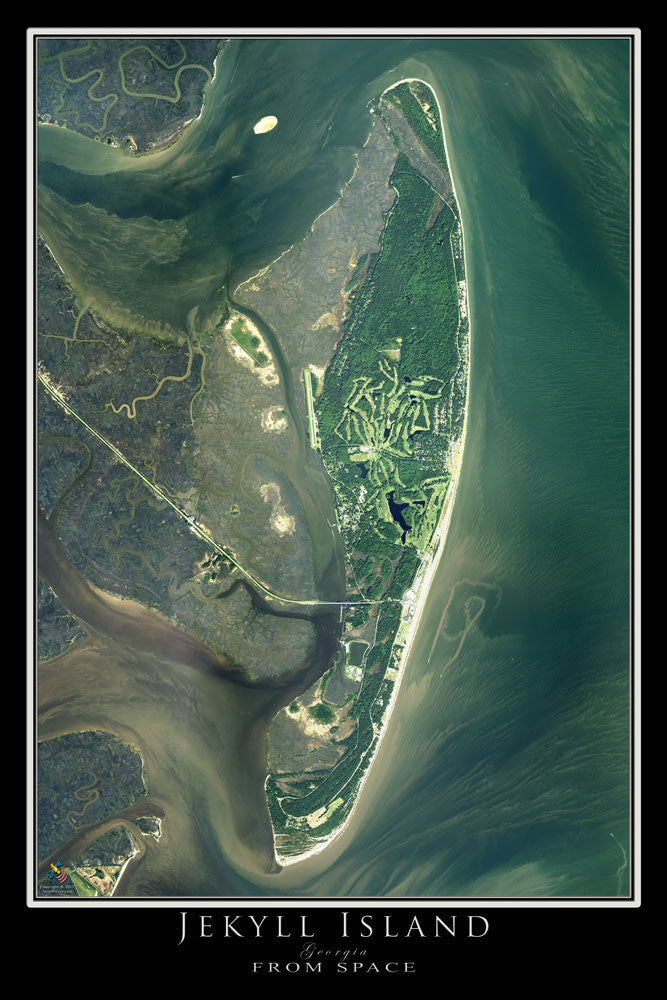 Satellite Map Of Georgia.Jekyll Island Georgia Satellite Poster Map Terraprints Com