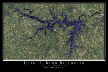John Kerr Lake Virginia - North Carolina Satellite Poster Map - TerraPrints.com