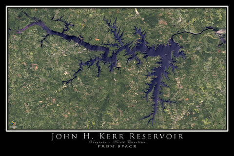 John Kerr Lake Virginia - North Carolina From Space Satellite Poster Map - TerraPrints.com