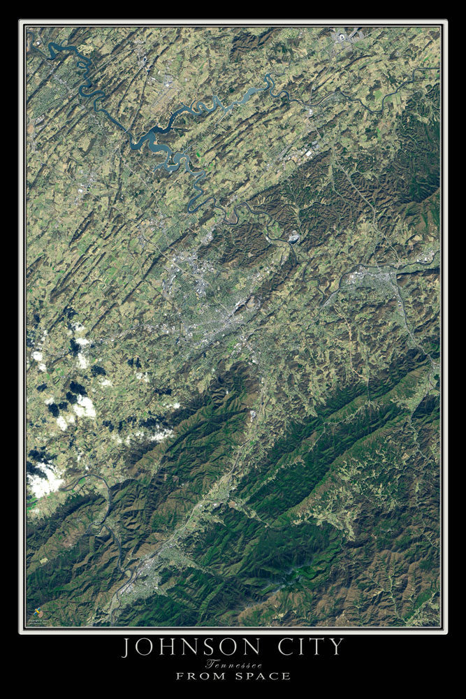 Johnson City Tennessee From Space Satellite Poster Map - TerraPrints.com
