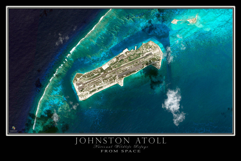 Johnston Atoll From Space Satellite Poster Map - TerraPrints.com