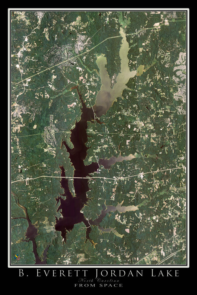 Jordan Lake North Carolina From Space Satellite Poster Map by TerraPrints.com. Available in multiple sizes with free shipping in the USA.