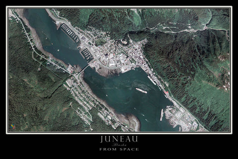 Juneau Alaska From Space Satellite Poster Map by TerraPrints.com. Available in multiple sizes with free shipping in the USA.