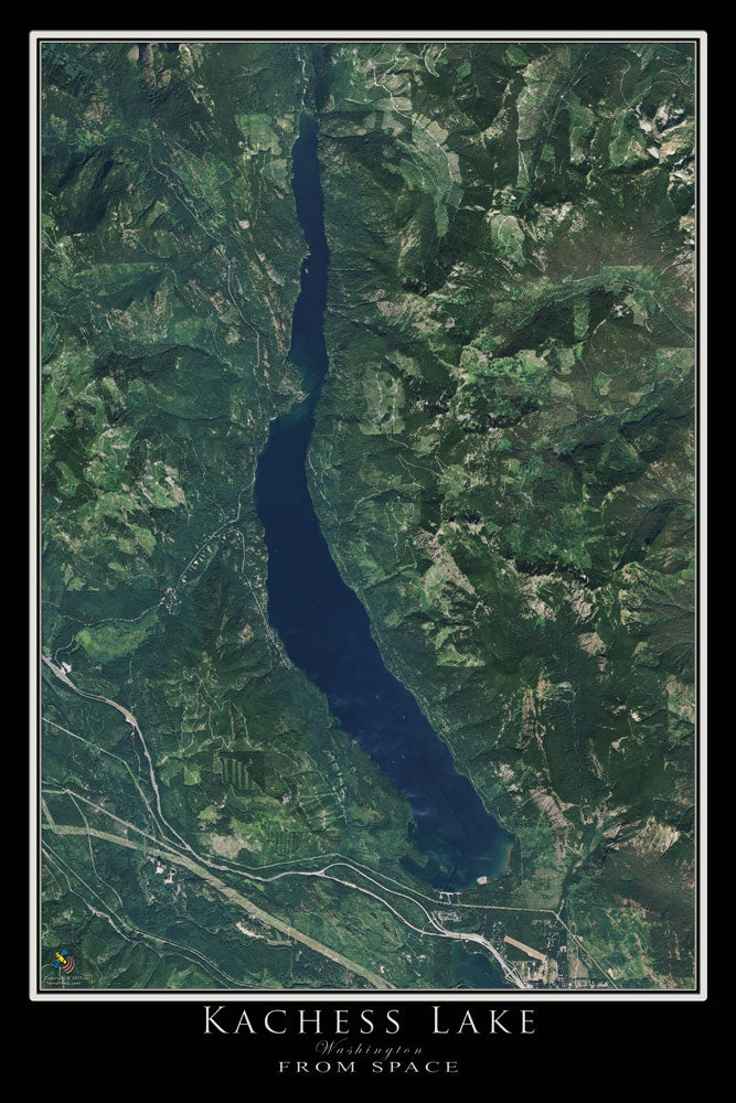 Kachess Lake Washington Satellite Poster Map