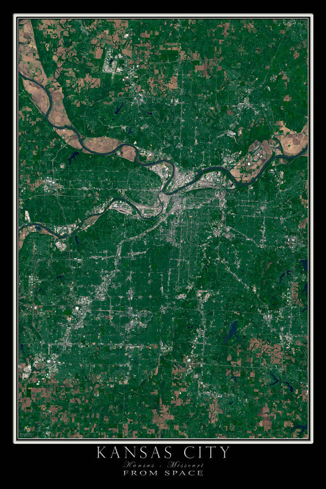 Kansas City Kansas - Missouri From Space Satellite Poster Map by TerraPrints.com. Available in multiple sizes with free shipping in the USA.