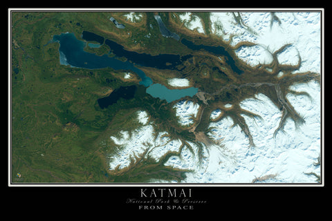 Katmai National Park & Preserve Alaska From Space Satellite Poster Map - TerraPrints.com