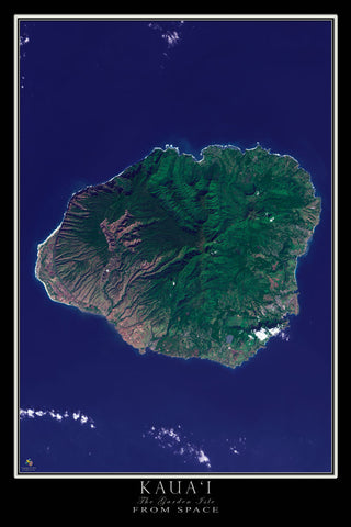 Kauai Island Hawaii Satellite Poster Map by TerraPrints.com. Available in multiple sizes with free shipping in the USA.