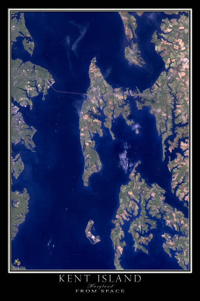 Kent Island Maryland From Space Satellite Poster Map - TerraPrints.com