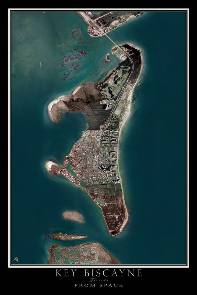 Key Biscayne Florida Satellite Poster Map - TerraPrints.com