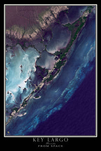 Key Largo Florida Satellite Poster Map by TerraPrints.com. Available in multiple sizes with free shipping in the USA.