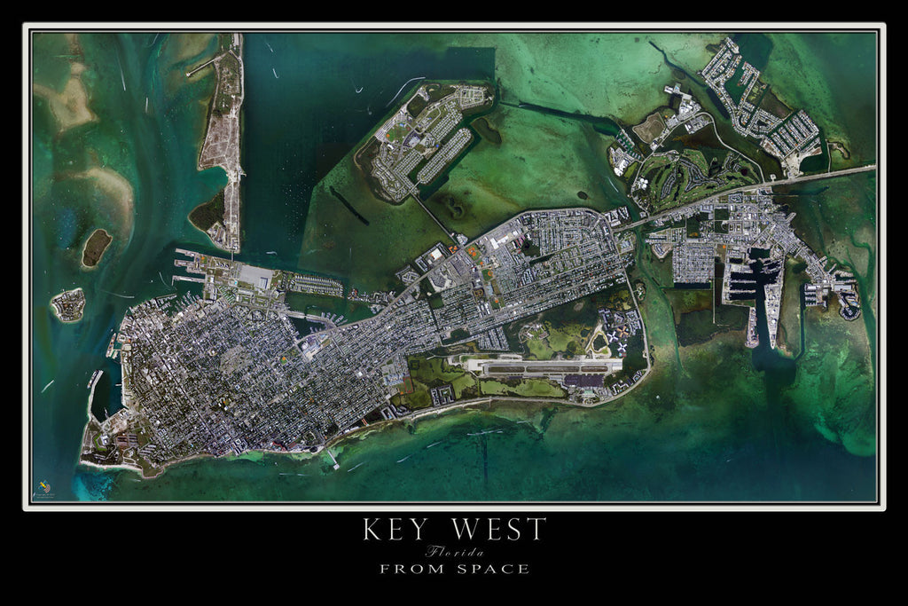 Key West Florida From Space Satellite Poster Map - TerraPrints.com