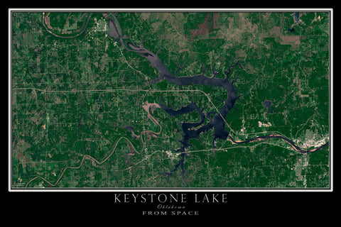 Keystone Lake Oklahoma From Space Satellite Poster Map by TerraPrints.com. Available in multiple sizes with free shipping in the USA.