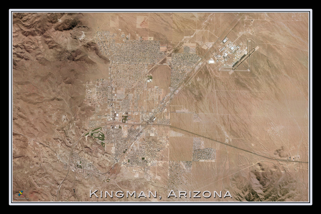 Kingman Arizona Satellite Poster Map - TerraPrints.com