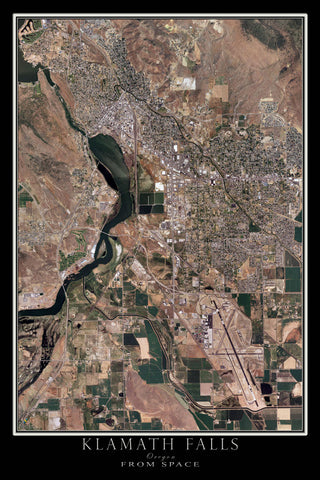 Klamath Falls Oregon From Space Satellite Poster Map by TerraPrints.com. Available in multiple sizes with free shipping in the USA.