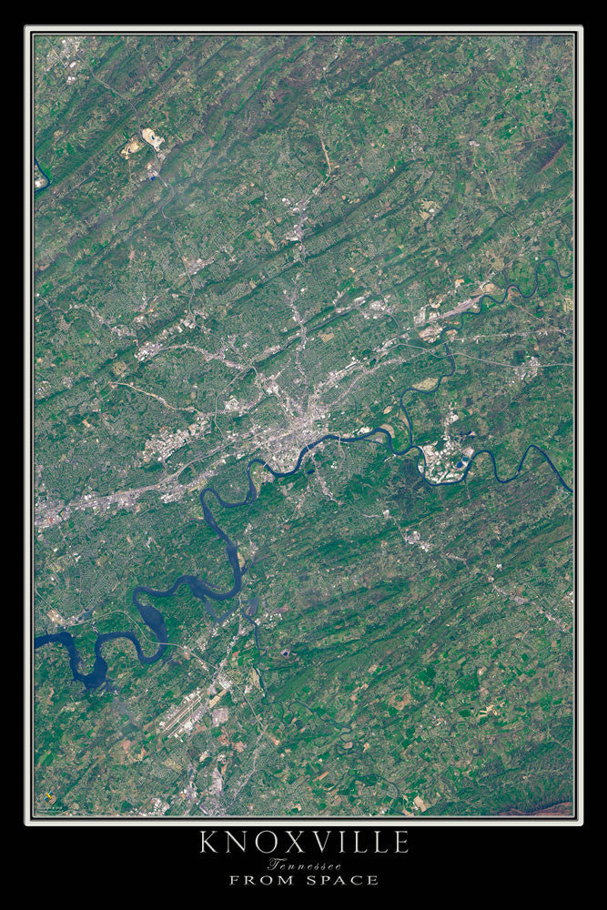 Knoxville Tennessee From Space Satellite Poster Map - TerraPrints.com