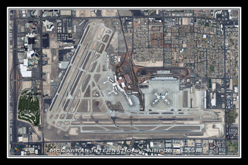 The McCarran Intl Airport Las Vegas Nevada Satellite Poster Map