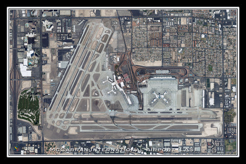 McCarran Intl Airport Las Vegas Nevada Satellite Poster Map
