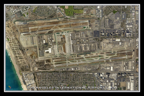 Los Angeles Intl Airport California Satellite Poster Map