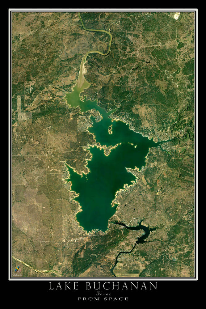 Lake Buchanan Texas Satellite Poster Map - TerraPrints.com