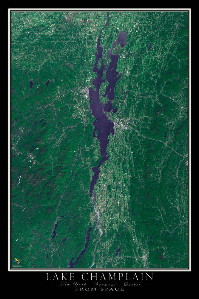 Lake champlain new york vermont quebec satellite poster map lake champlain new york vermont quebec satellite poster map terraprints gumiabroncs Choice Image