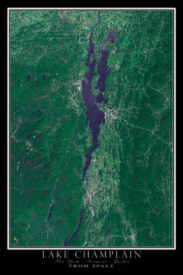 Lake Champlain New York - Vermont - Quebec Satellite Poster Map - TerraPrints.com