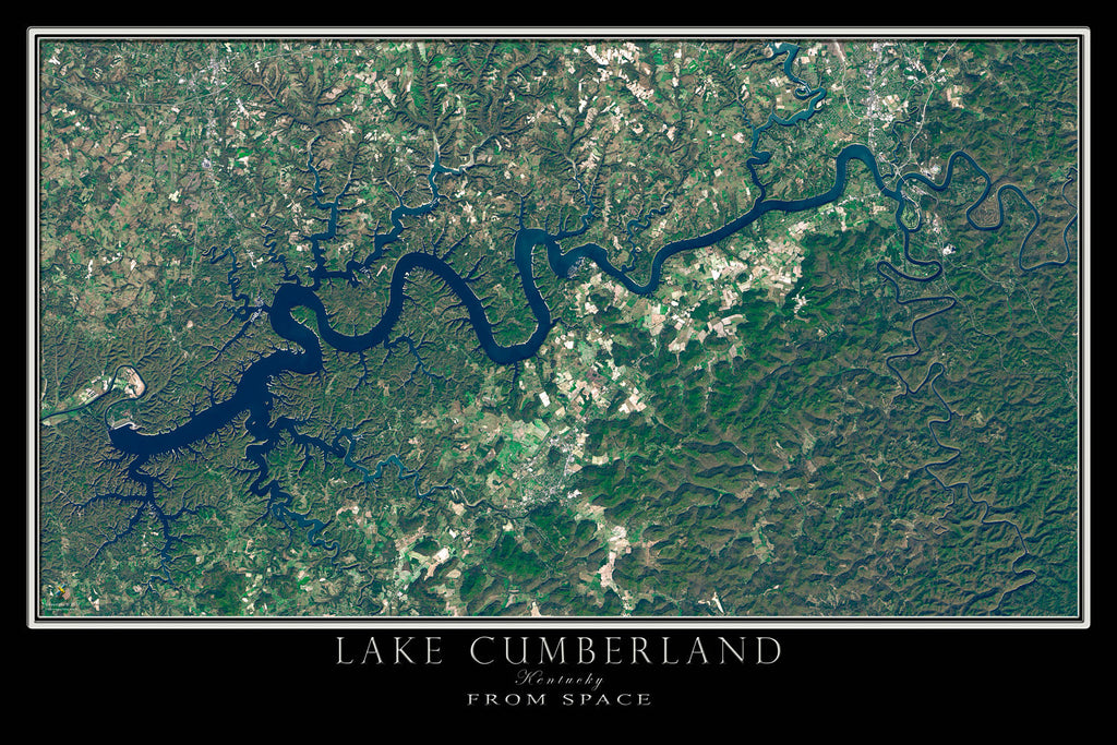 Lake cumberland kentucky satellite poster map terraprints lake cumberland kentucky satellite poster map gumiabroncs