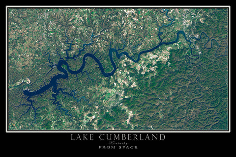 Lake Cumberland Kentucky From Space Satellite Poster Map