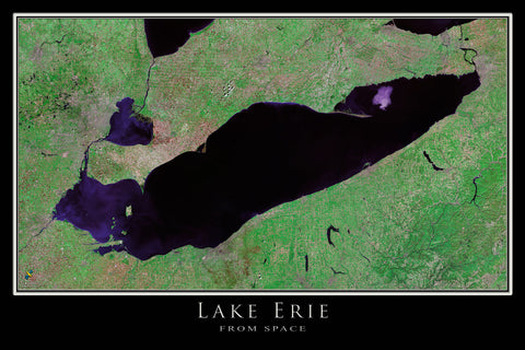 Lake Erie Satellite Poster Map - TerraPrints.com