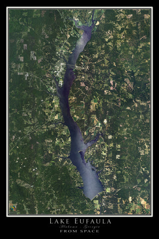 Lake Eufaula Alabama - Georgia Satellite Poster Map
