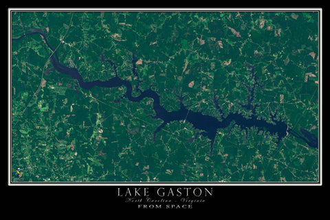 Lake Gaston North Carolina - Virginia Satellite Poster Map - TerraPrints.com